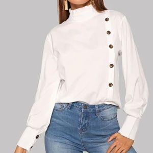 SHEIN white button down blouse